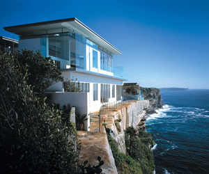 beach, house, and water image