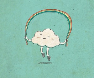 rainbow, clouds, and happy image