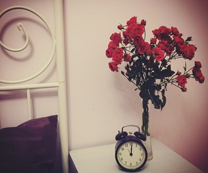 clock, midnight, and flowers image