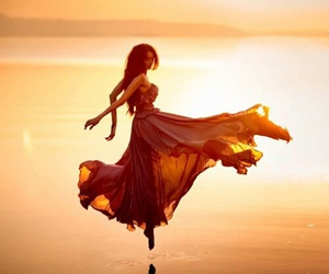 dress, sea, and sun image