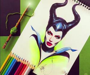 maleficent, disney, and drawing image