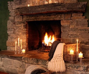 winter, fireplace, and candle image