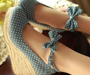 shoes, bow, and blue image