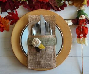 autumn, burlap, and table setting image