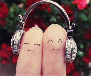 music, fingers, and headphones image