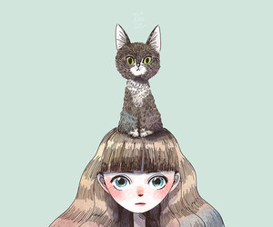 cat, art, and girl image