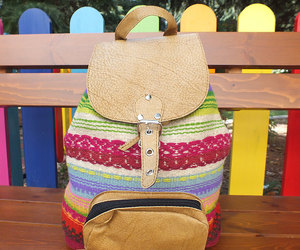 backpack, boho chic, and leather backpack image