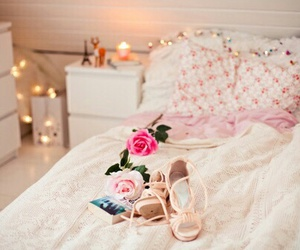 bed, decoration, and flower image