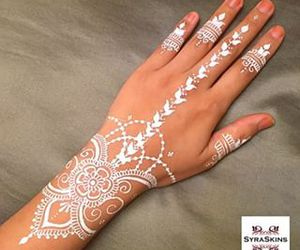 hand, henna, and white image