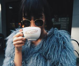fashion, blue, and coffee image