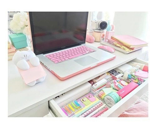 room, desk, and pink image