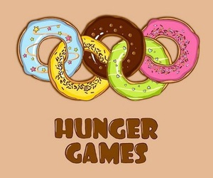 hunger games, donuts, and lol image