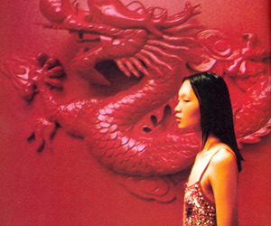 red, aesthetic, and dragon image