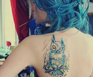 blue, tattoo, and girl image