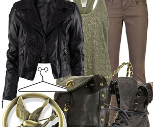 hunger games, outfit, and katniss image