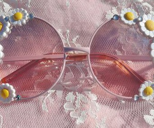 flowers, pink, and sunglasses image