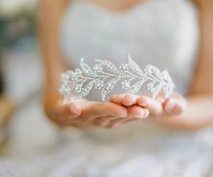 crown, wedding, and dress image