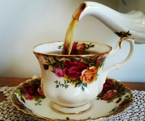 roses, tea, and teacup image