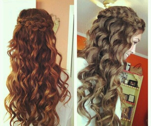 hair, braid, and curly image