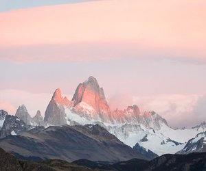 mountains, pink, and sky image