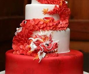 cake, dragon, and red image