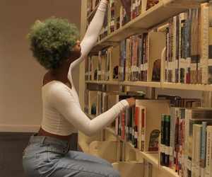 blue hair, library, and beautiful black women image