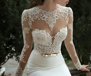 dress, white, and wedding image
