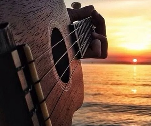 guitar, music, and sunset image