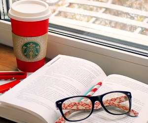 books, chocolate, and glasses image