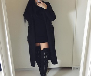 fashion, all black, and outfit image
