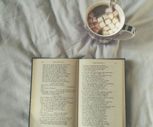 book, bed, and chocolate image