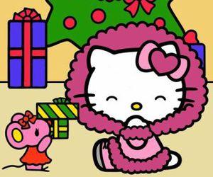 hello kitty, christmas, and pink image
