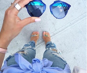 blue, heels, and jeans image