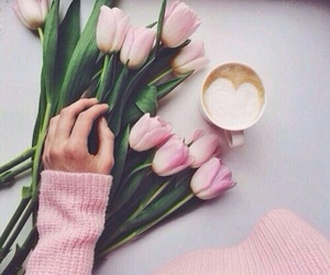 flowers, pink, and coffee image