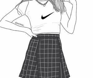 grunge, outline, and girl image