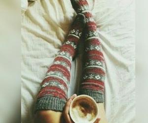 christmas, socks, and hot chocolate image