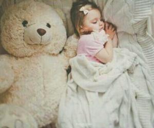 baby, sleep, and teddy bear image
