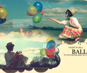 balloons, colours, and girl image