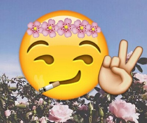 emoji, flowers, and peace image