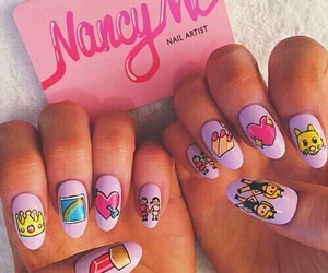 nails, emoji, and pink image