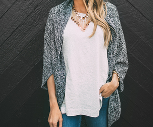 blonde, grey, and outfit image