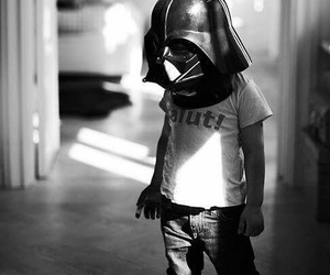kids, star wars, and black and white image