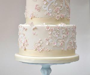cake, pink flowers, and wedding cake image