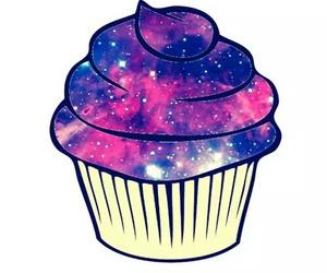 cupcake, overlay, and galaxy image