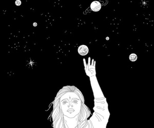 black and white, stars, and space image