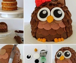cake, owl, and diy image