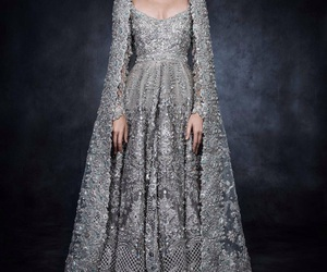 dress, haute couture, and silver image