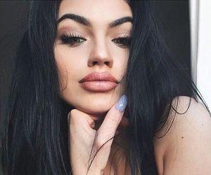 black hair, eyebrows, and girls image