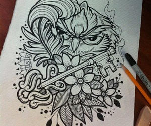 drawing, owl, and draw image