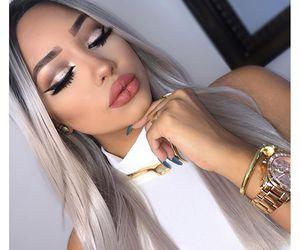 contour, grey hair, and lipstick image